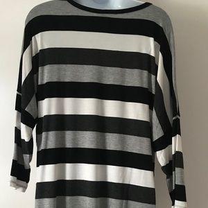 Dress barn Sunday shirt black and white striped